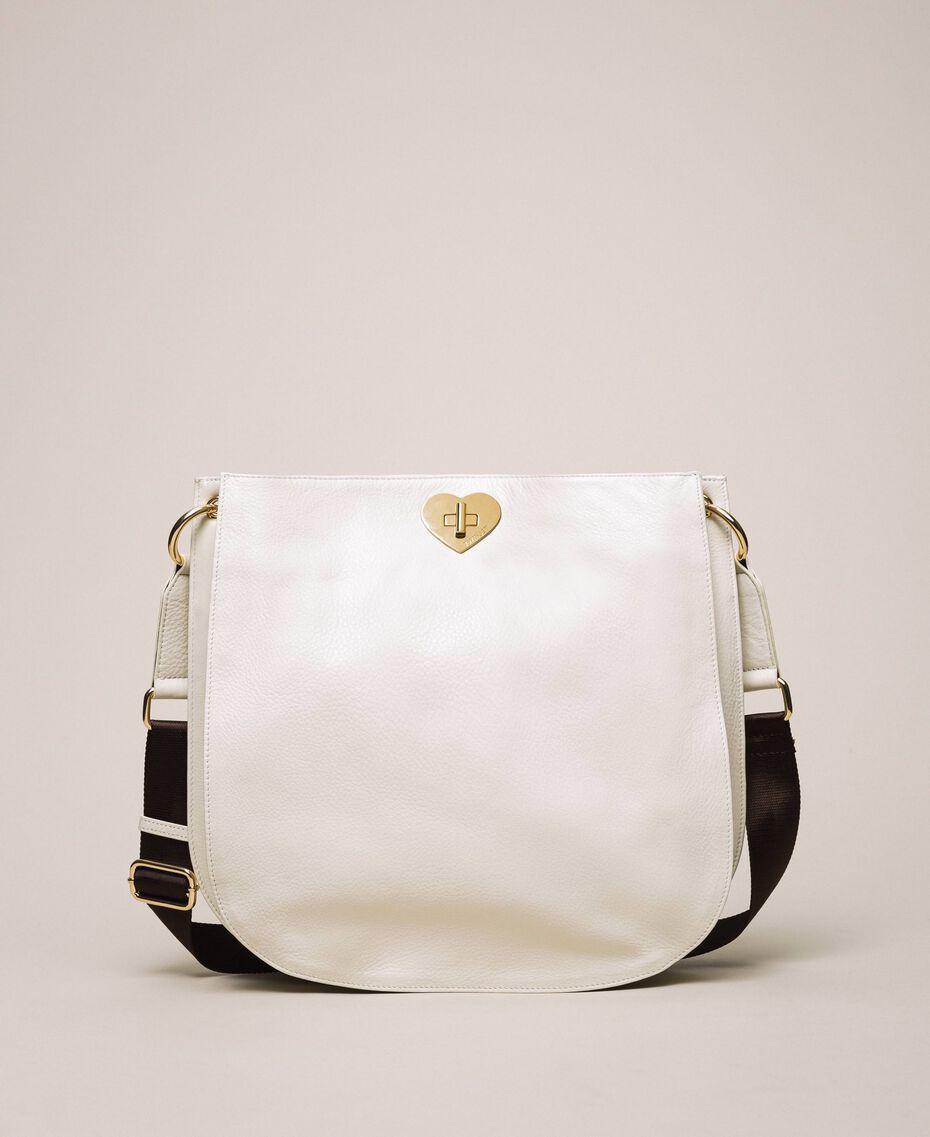 Hobo-Bag aus Leder mit Herz Weiß Schnee Frau 201TA7050-01
