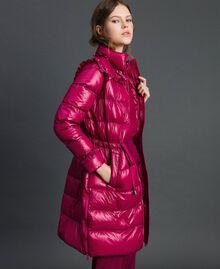 Doudoune longue matelassée en plumes véritables Rouge Betterave Femme 192TP2201-01