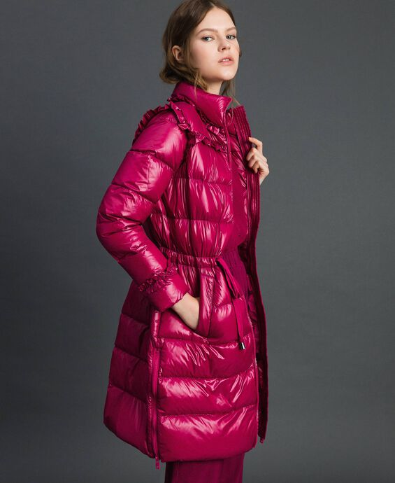 Long quilted padded jacket with real down