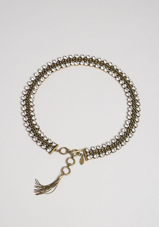 Ceinture-bijou en chaîne, avec strass et pompon