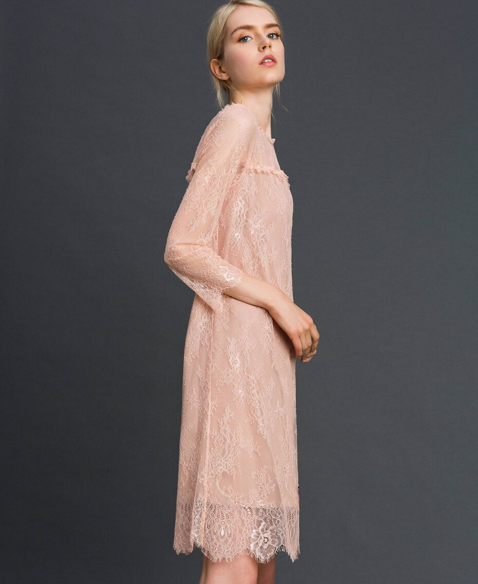 "Valenciennes lace dress with floral embroidery ""Pale Pink"" Woman 192TP2587-02"
