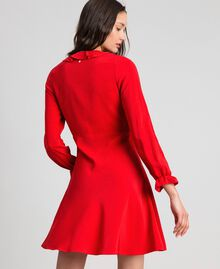 Georgette dress with ruffles Pomegranate Red Woman 192TP2112-03