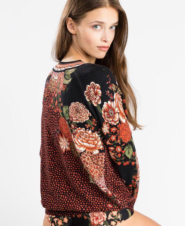 Maxi viscose blend printed jumper Black Flower Print Woman LA8KDD-03