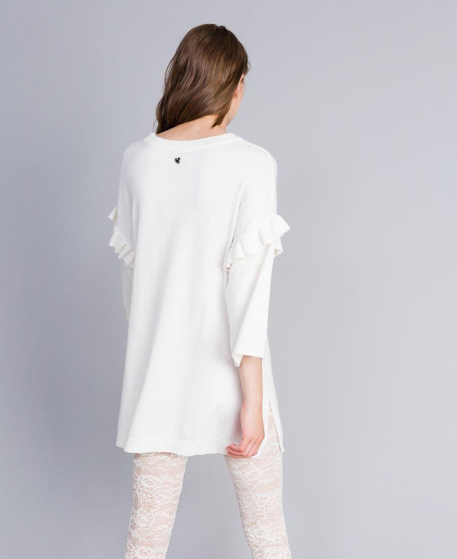Maxi maglia con ricamo-logo e pizzo Multicolor Bianco Madreperla / Nero Donna JA83FC-03