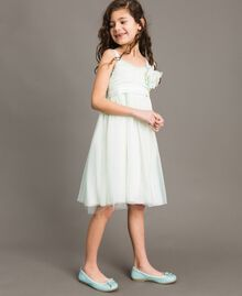 """Tulle dress with flower-shaped brooch Blue Clear """"Water"""" Child 191GJ2QM0-03"""