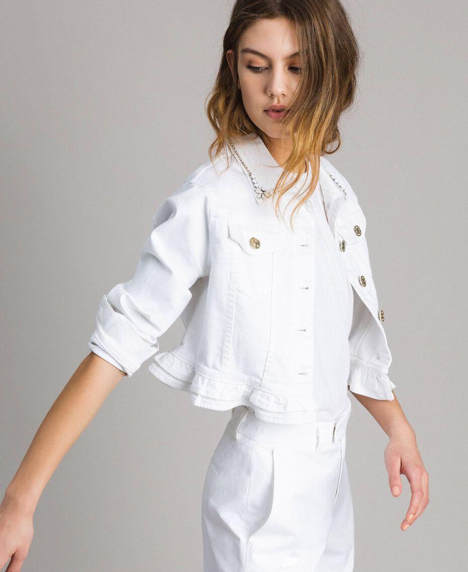 Jacke mit Rüschen und Stickerei Weiß Frau 191MT2442-02