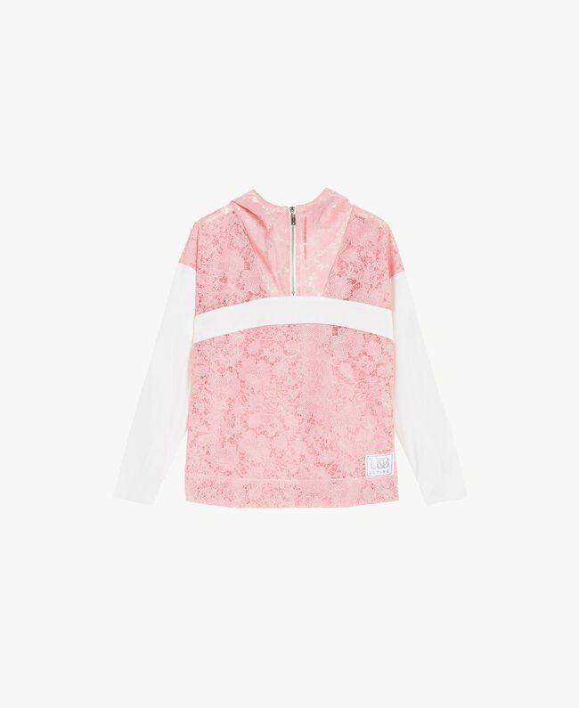 Sweatshirt aus Spitze Zweifarbig Pinkie / Optisches Weiß Frau LS89AA-01