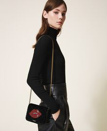 Velvet shoulder bag with patch Black Woman 202TD8280-0T