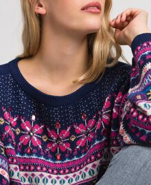 "Multicolour jacquard jumper with embroidery ""Pink Gloss"" Jacquard Woman 192MT3050-05"
