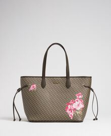 Printed shopper with clutch Army Green Butterfly Floral Print Woman 192TA7017-01