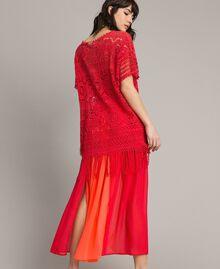 """Jupe longue avec panneaux multicolores Multicolore Rouge """"Framboise"""" / Beige """"Voie lactée"""" / """"Jus d'Orange"""" Femme 191LM2TCC-03"""