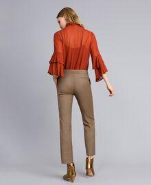 """Pantaloni a sigaretta in misto lana Jacquard Quadretti Arancione """"Bruciato"""" Donna TA821P-03"""