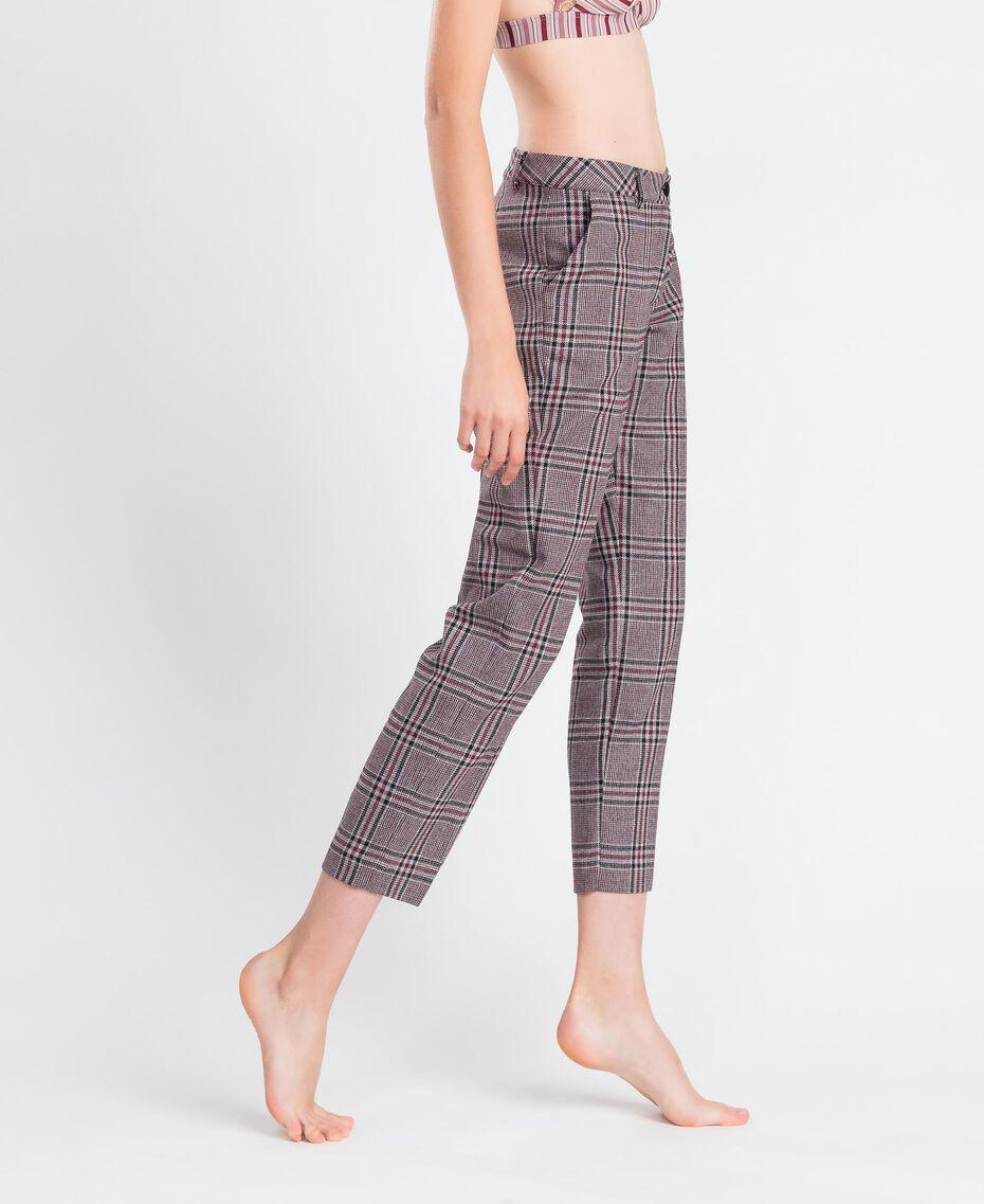 """Drainpipe trousers """"Reddish"""" Red Tartan Print Woman LA8NFF-02"""