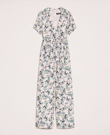 "Floral crêpe de Chine jumpsuit ""Quartz"" Pink Flowered Print Woman 201MP2372-0S"