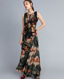 "Long chiffon dress with floral print Black Tulip and ""Tea Garden"" Print Woman TA825P-01"