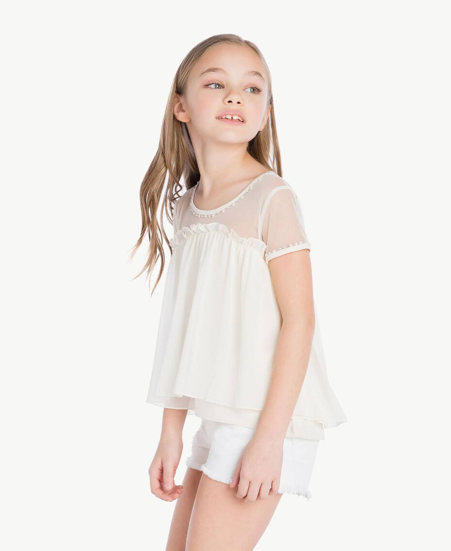 Embroidered blouse Pale Cream Child GS82B2-03