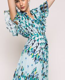 """Printed georgette dress with pleats and frills """"Windy"""" Blue Geometric Print Woman 201ST2185-05"""