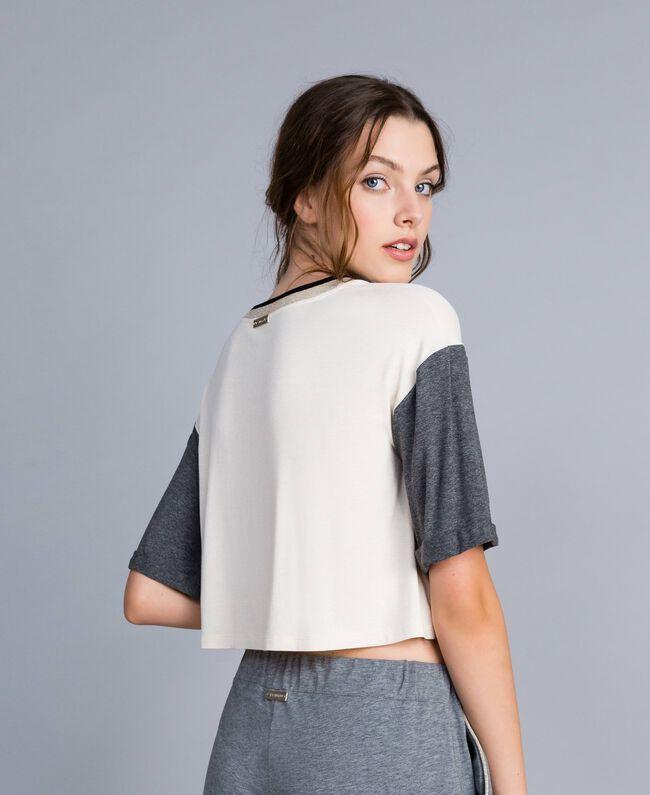 T-shirt court en jersey Bicolore Blanc / Gris Chiné Femme IA81JJ-03