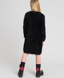 Fur effect knit dress Black Child 192GJ3062-03
