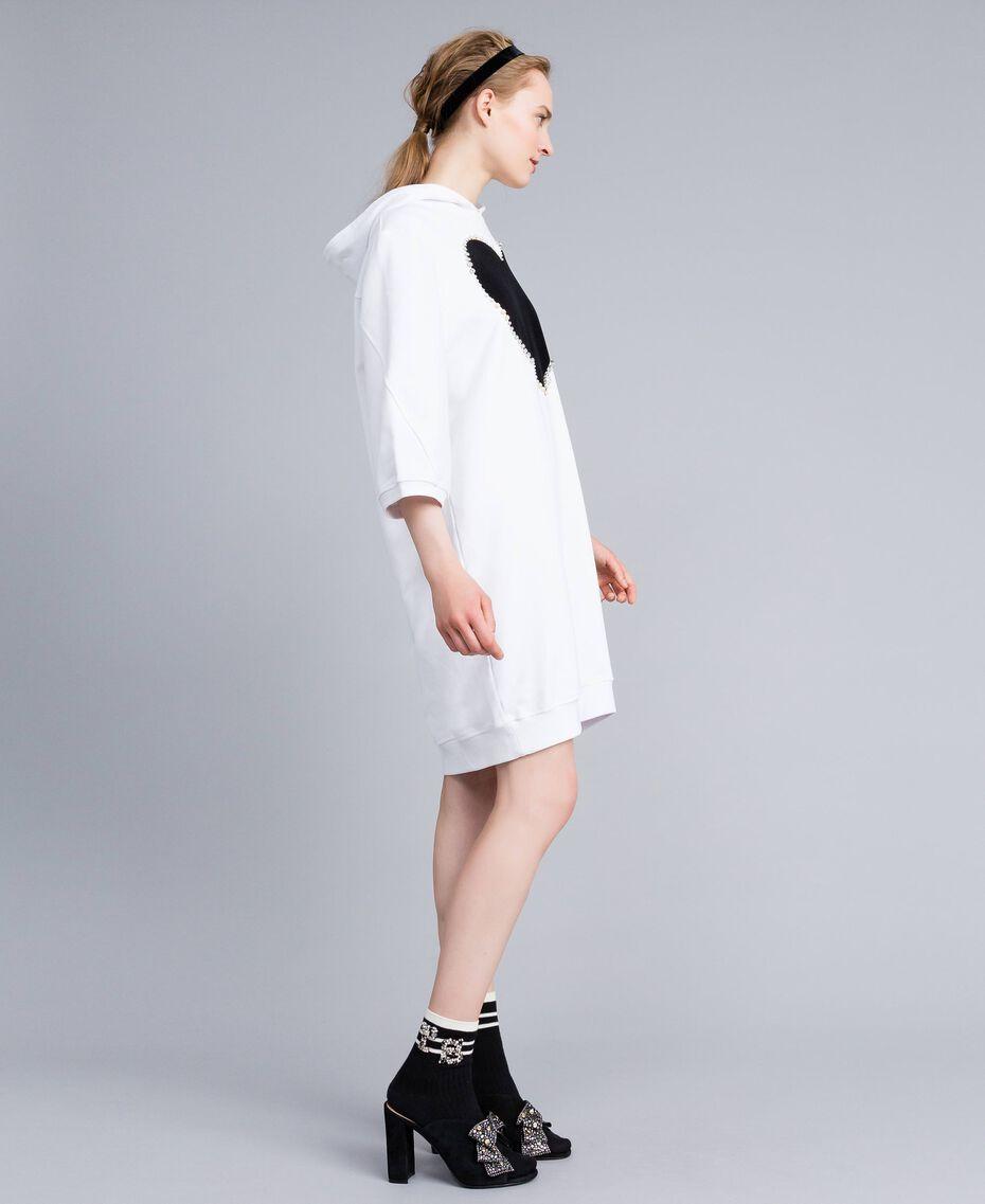 Kleid aus Baumwolle mit Flockherz Weiß Frau PA82CG-02