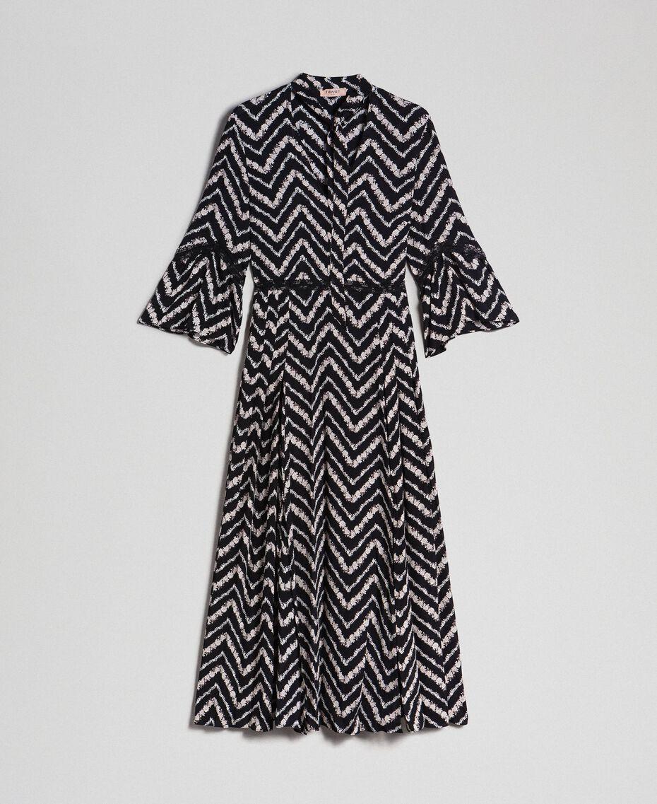 Robe longue avec imprimé floral à chevrons Imprimé Chevrons Noir / Blanc Neige Femme 192TP2527-0S