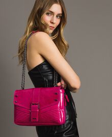 Rebel leather shoulder bag Fuxia Woman 191TO7233-0S