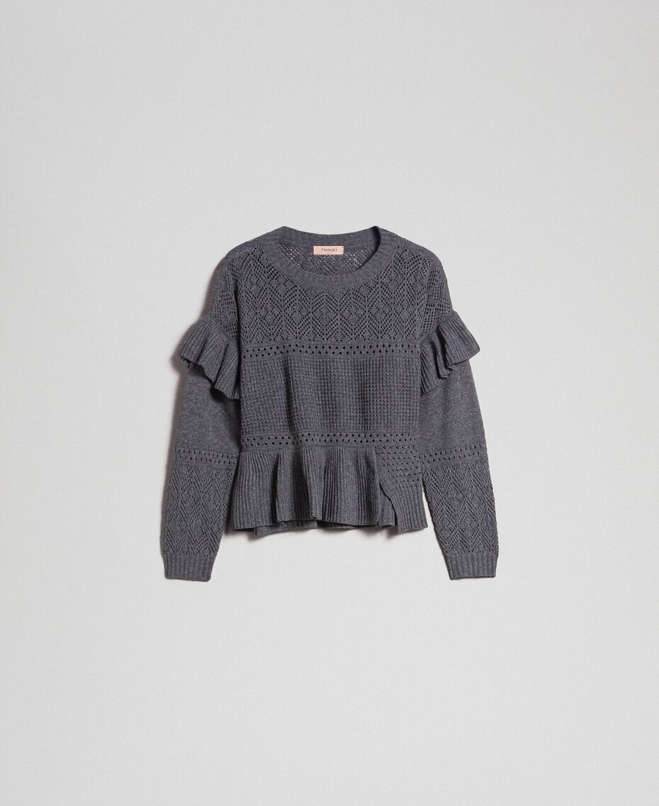 Openwork wool and cashmere jumper Melange Grey Woman 192TP3201-0S