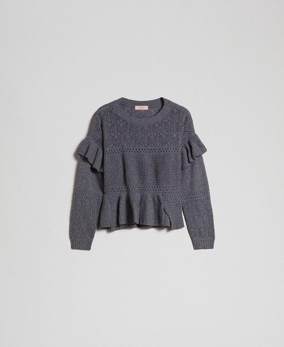 Pull ajouré en laine et cachemire Gris Mélangé Femme 192TP3201-0S