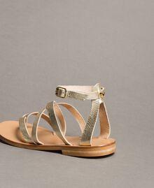 Sandales en cuir laminé avec lanières Platine Femme 191TCT09W-04