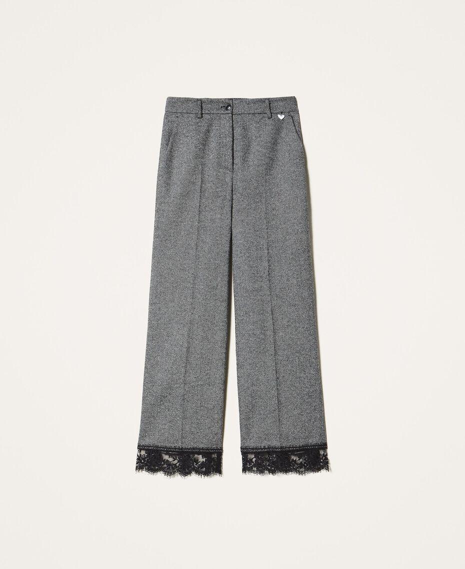 Pantalon cropped en laine avec dentelle Gris «Sel et Poivre Neige» / Noir Femme 202TP2382-0S