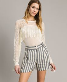 Mesh and lace stitch fringed jumper Ecrù Woman 191TT3063-02