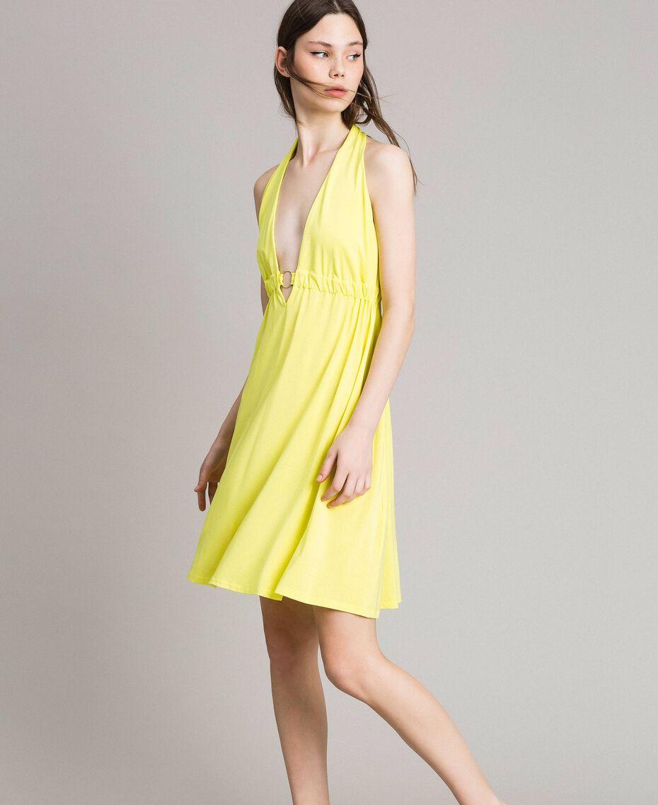 "Jersey crepe dress with loop ""Lemon Juice"" Yellow Woman 191LB22CC-01"
