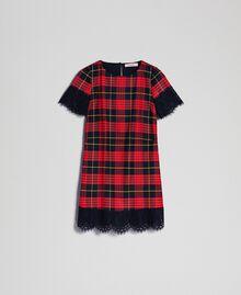 Karokleid aus Wolle mit Spitze Jacquard Schottenkaros Granatapfel Frau 192TP2621-0S