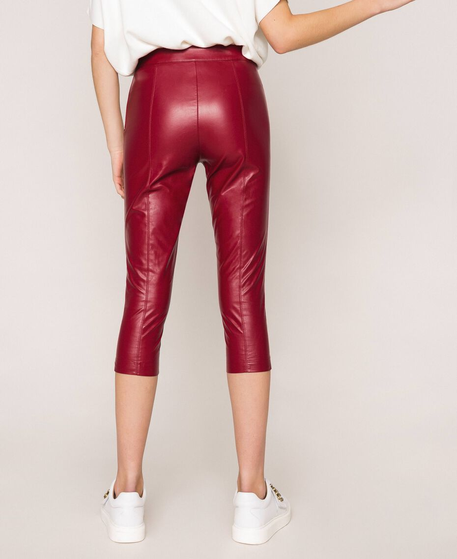 Faux leather leggings with stitches Purple Woman 201ST2113-03