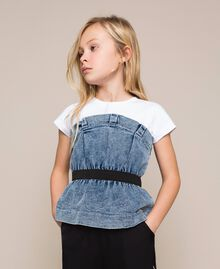 "Top in jeans con arricciatura Bicolor Bianco ""Papers"" / Denim Medio Bambina 201GJ2312-01"
