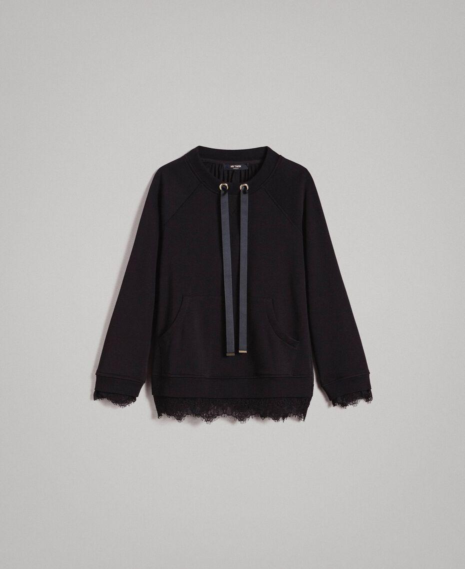 Sweatshirt mit Spitzendetails Schwarz Frau 191MP2324-0S