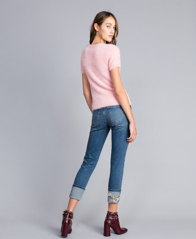 Embroidered skinny jeans with cuffs Denim Blue Woman JA82V5-03