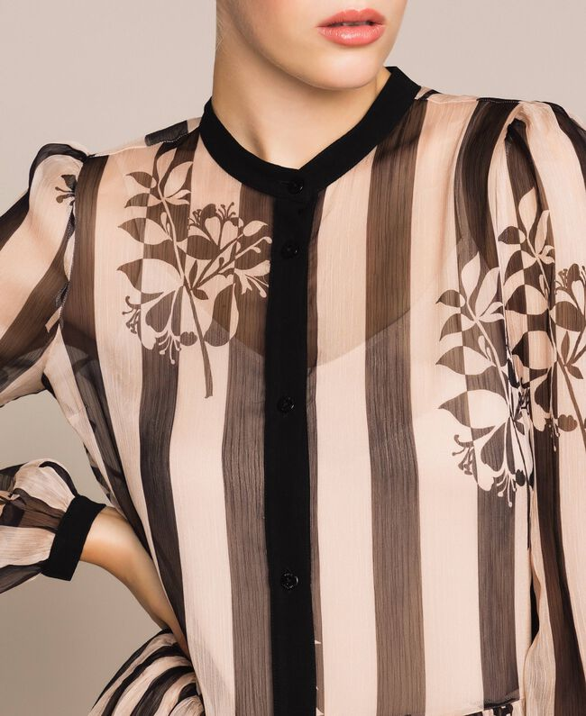 Long creponne dress with stripe and flower print Floral Print over Snow/ Black Stripes Woman 201TP2300-04