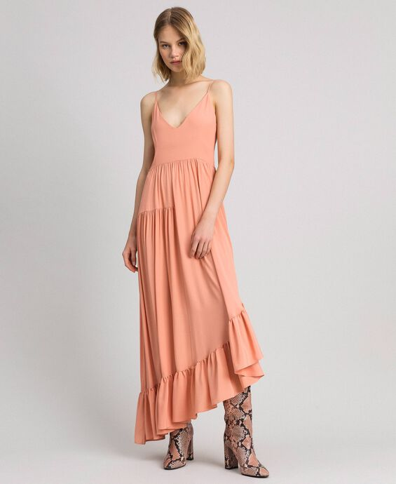 Asymmetric crêpe de Chine dress