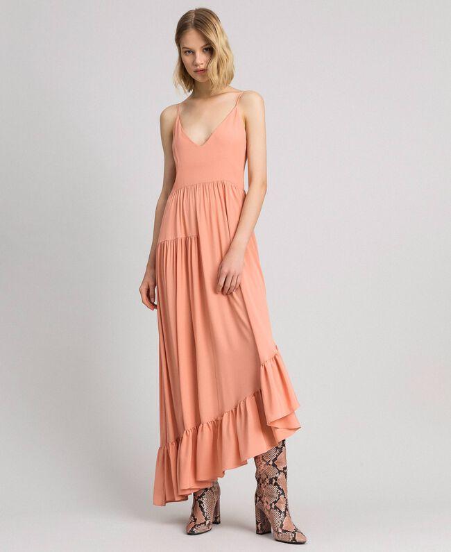 Asymmetrisches Kleid aus Crêpe de Chine aus Seidenmischung Pink Mousse Frau 192TP2384-01
