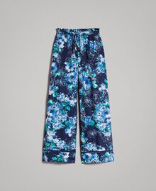 Palazzohose mit Blumenprint All Over Blunight Multicolour Flowers Motiv Frau 191MT2293-0S