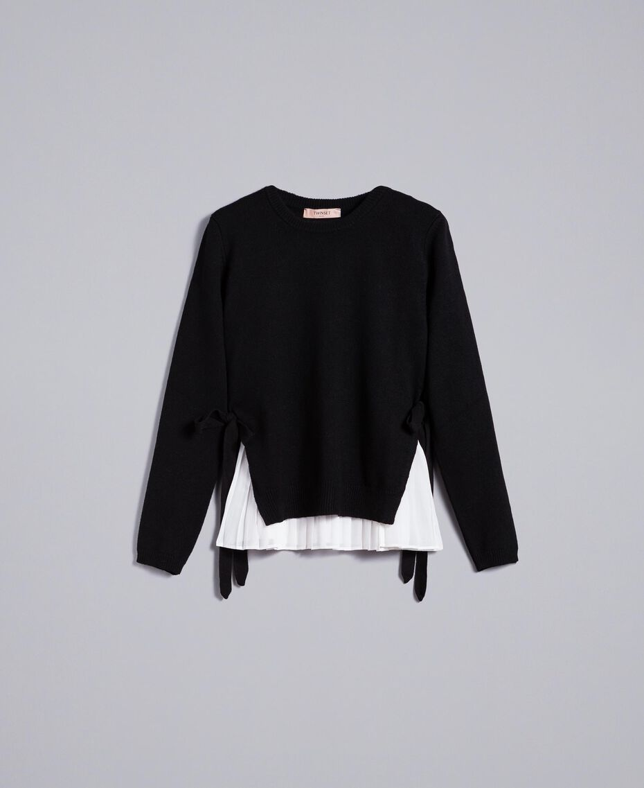 """Wool and cashmere jumper with pleated top Bicolour Black / """"Snow"""" White Woman PA831C-0S"""