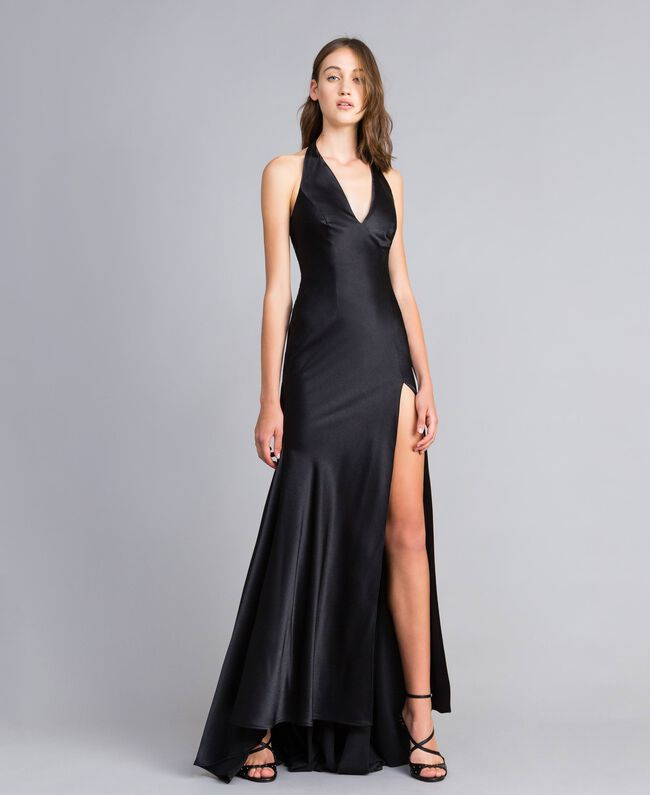 Langes Kleid Schwarz Frau QS8TGE-01