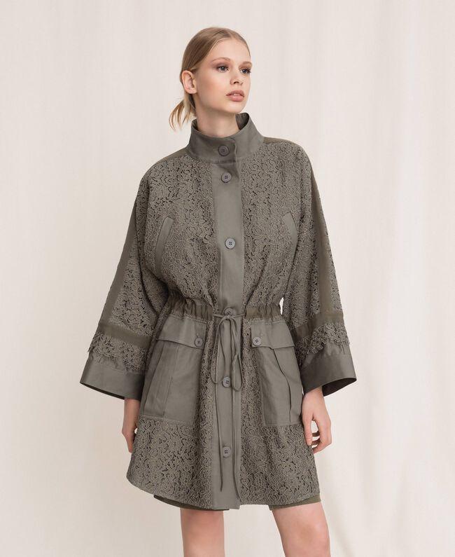 Cape en dentelle macramé Vert «Camouflage» Femme 201TP2190-05