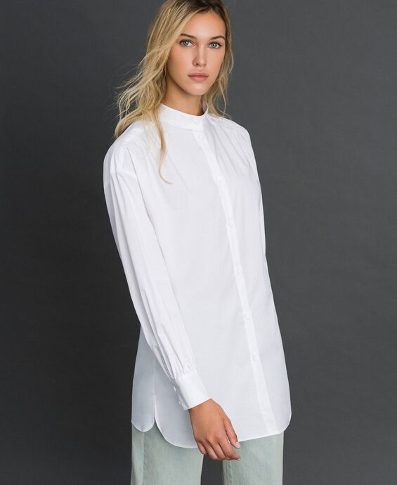 Long poplin shirt with gatherings