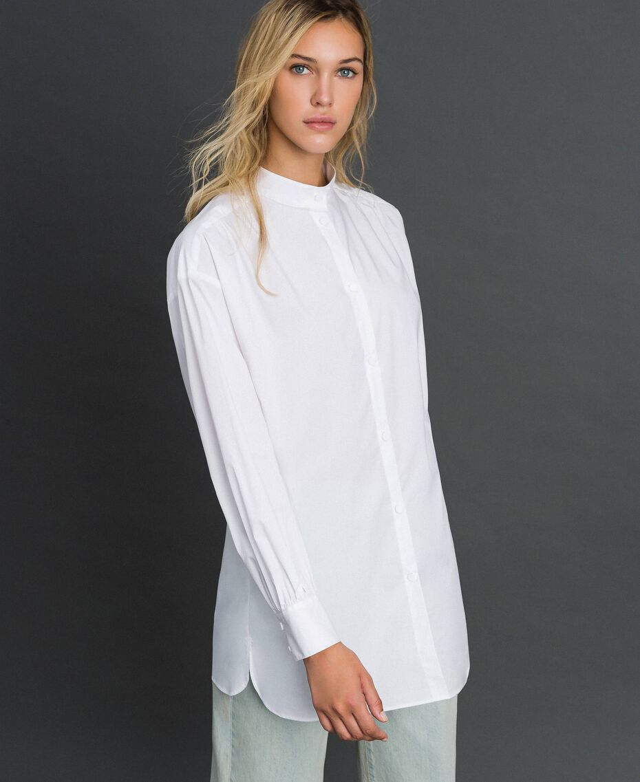 Long poplin shirt with gatherings White Woman 192ST2071-01