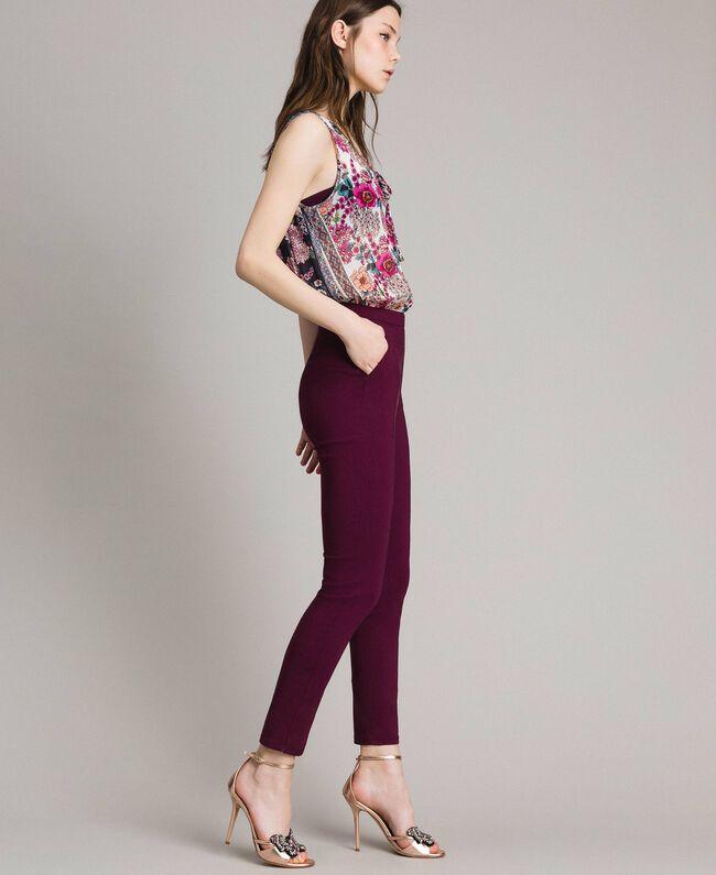 "Chiffon jumpsuit with shawl print ""Psychedelic Pink"" Fuchsia Scarf Print Woman 191LB2HGG-01"