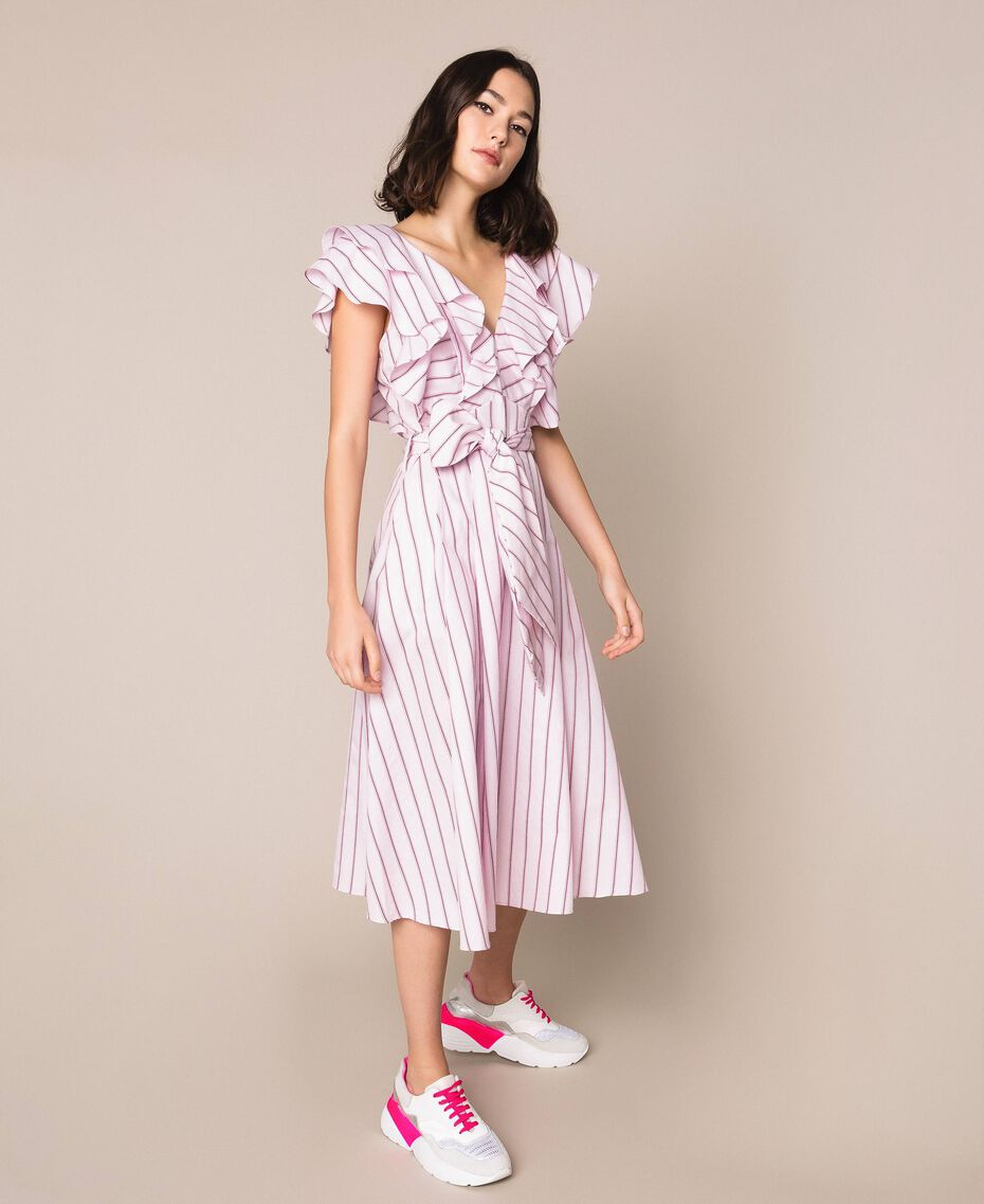 "Striped poplin midi dress ""Candy"" Pink Baton Stripe Jacquard Woman 201ST202J-02"