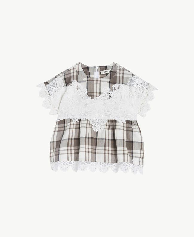 Lace blouse Chantilly Jacquard Check / Smoke Grey Child GS82JR-01
