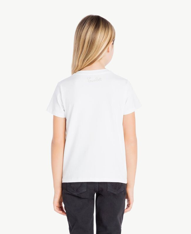 "T-shirt clous Blanc ""Papers"" Enfant GS82G3-04"